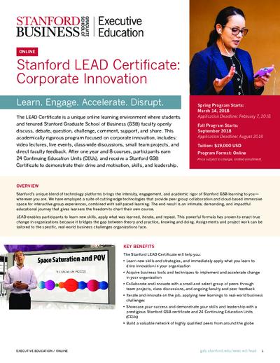 Stanford   Stanford Lead Course   Coursalytics   Online