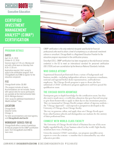 booth | certified investment management analyst (cima) certification ...